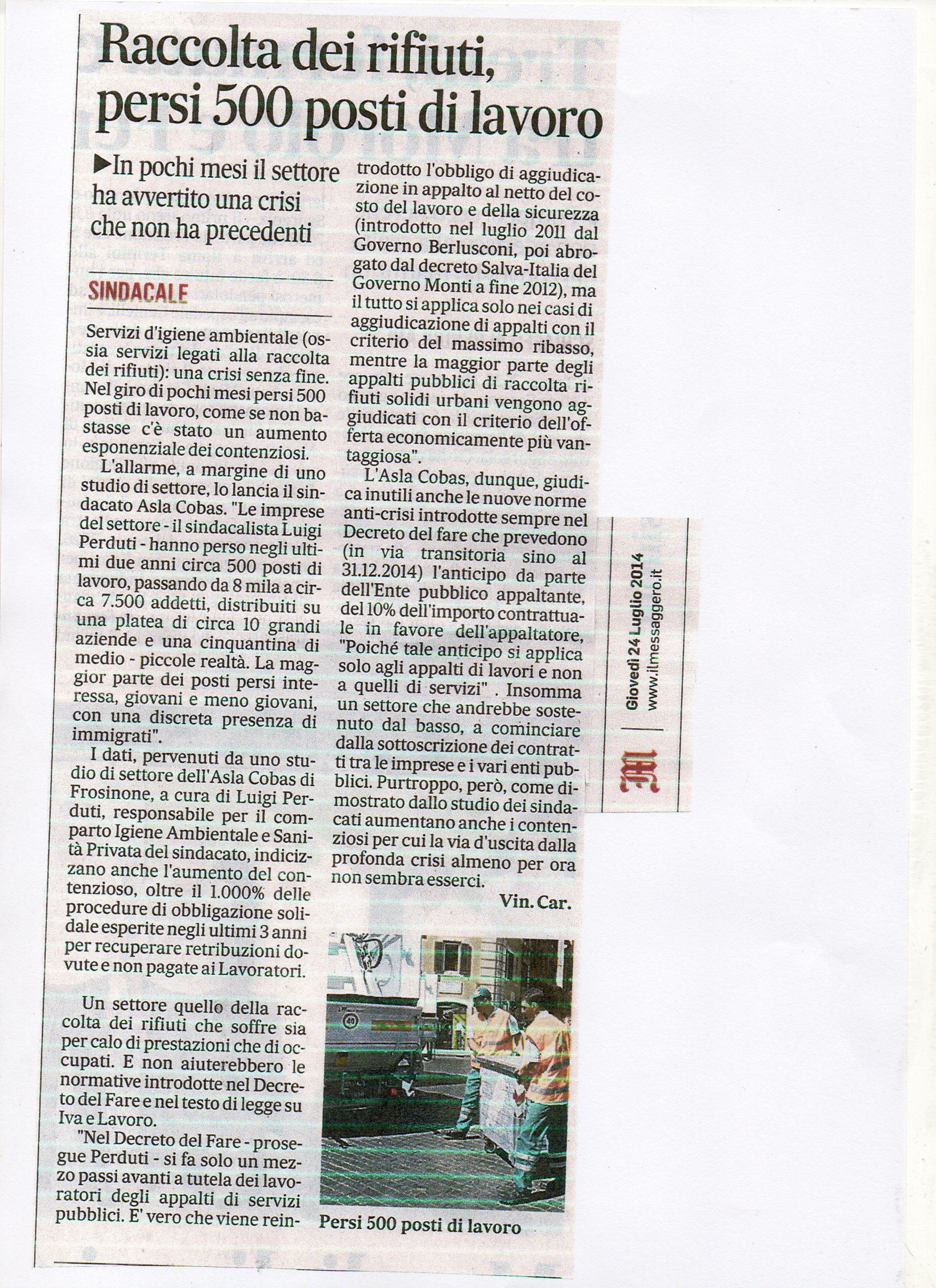 ARTICOLO MESSAGGERO DEL 24 LUGLIO 2014001
