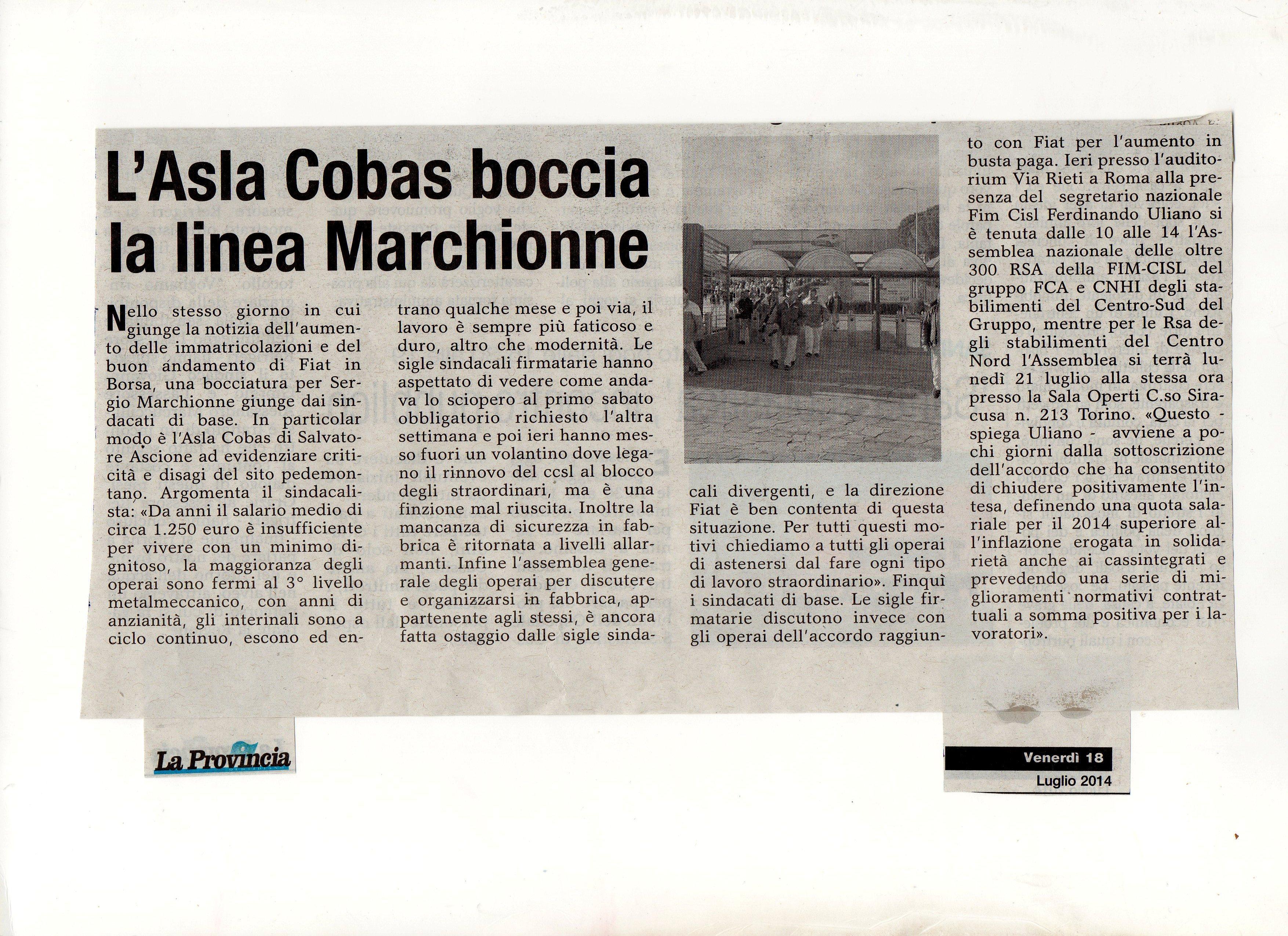 L'A.S.La COBAS BOCCIA LA LINEA MARCHIONNE