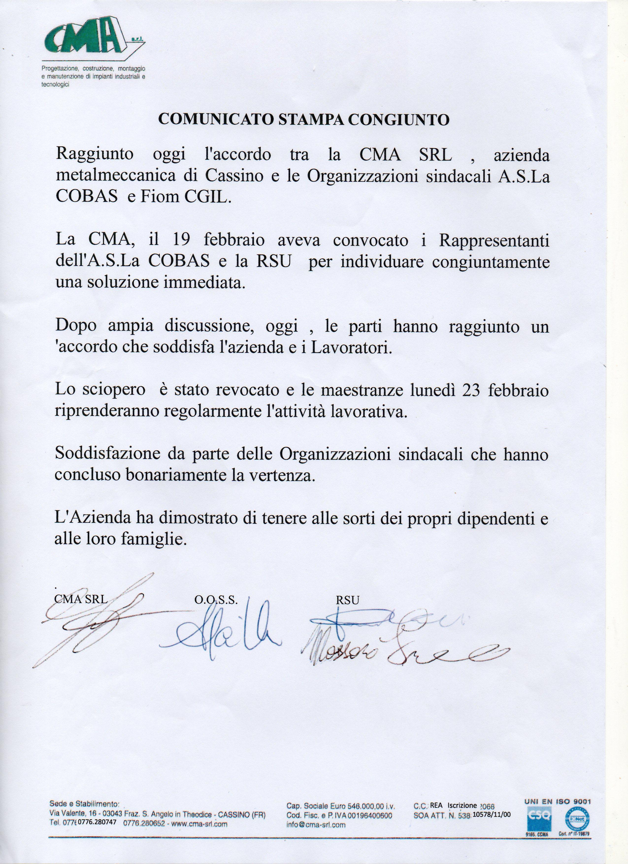 COMUNICATO CONGIUNTO CMA001
